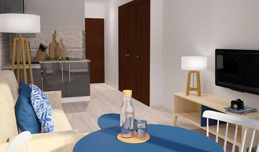 Salon d'un appart hôtels Pierre & Vacances
