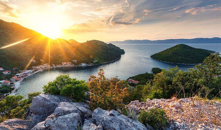 Coucher de soleil du Mljet en Croatie