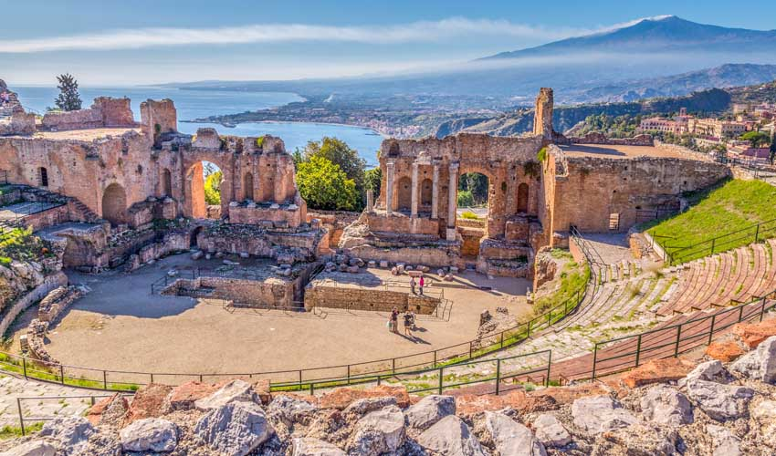 Ruines anciennes en Sicile, Italie