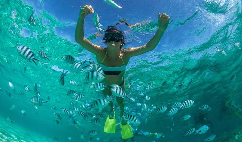 ile maurice pas cher masque et tuba poissons femme en snorkelling