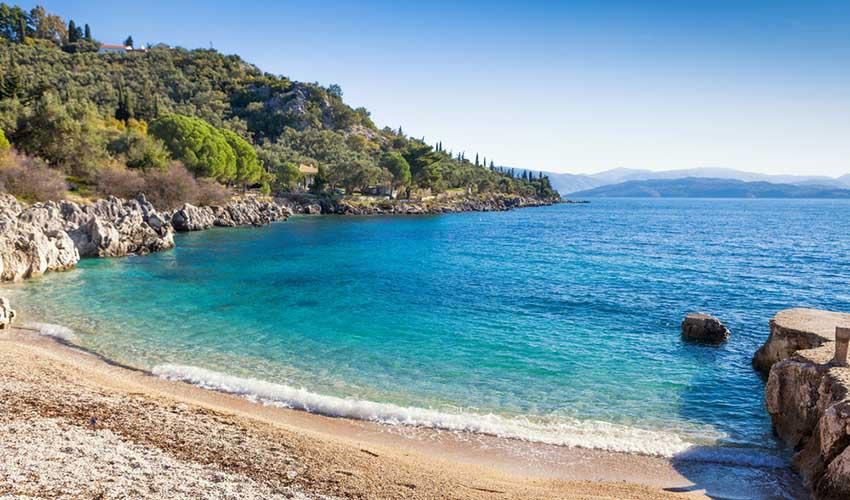 La plage de Nissaki, Corfou, Grèce