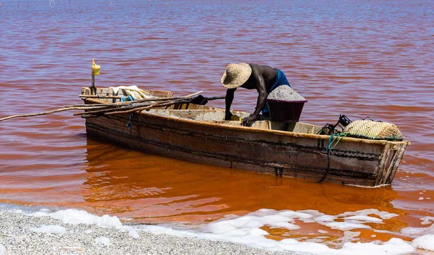 senegal a faire homme en train de ramasser du sel sur le lac rose lac retba