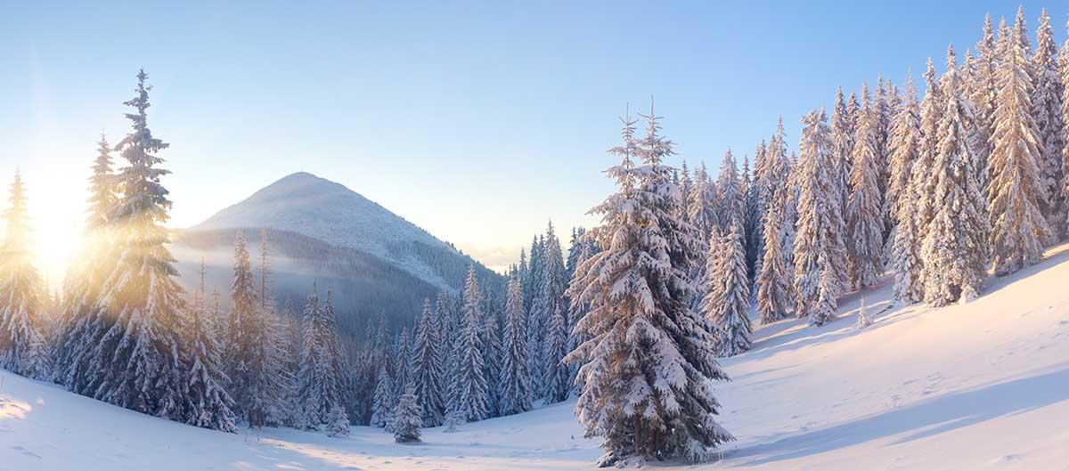 La montagne sous la neige en hiver