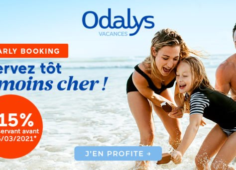 Vacances d'été 2021 : -15% avec les premières minutes Odalys