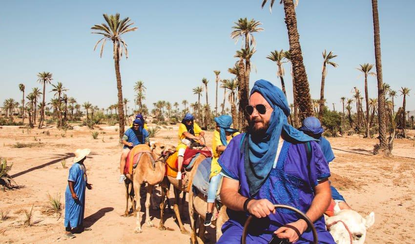Promenade à dos de dromadaire dans la palmeraie de Marrakech.